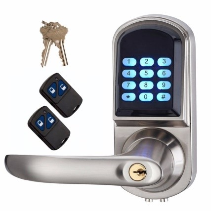 A door handle with a numeric keypad lock and wireless keys