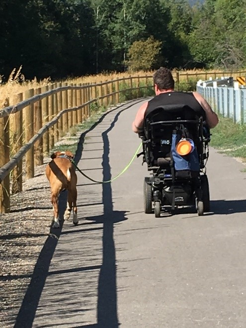 A person using a power wheelchair is walking their dog down a trail.