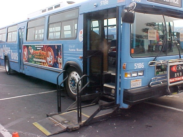 Big blue bus with accessible lift