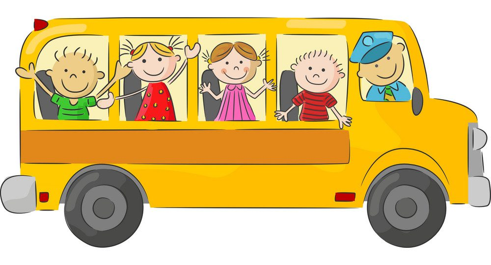cartoon graphic of children riding in a big yellow school bus