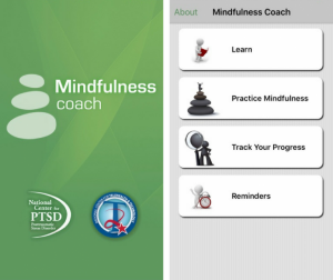 "Screenshot of the Mindfulness Coach app: drop-down menu reads, ""Learn; Practice Mindfulness; Track Your Progress; and Reminders"""