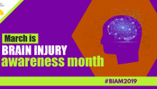 Purple icon of a head with lights to signify brain activity. Text: March is Brain Injury Awareness Month. #BIAM2019 CFILC logo.