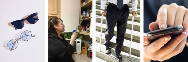 4 photos: (1) stylish black sunglasses, eyeglasses; (2) woman using grabber/reacher tool in the kitchen; (3) man in business suit using crutches on stairs outdoors; (4) hands using a smartphone.