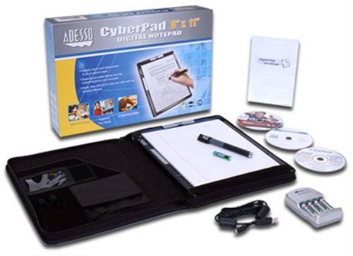 Photo of the cyberpad box with contents: notepad, pen, and accessories.