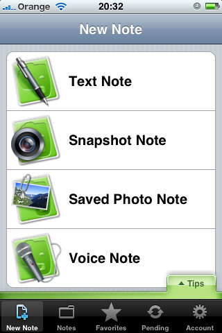 Screenshot: Text: New Note. Menu options: Text Note - Pen and paper icon. Snapshot Note - Paper and camera lens icon. Saved Photo Note. Paper with paperclipped photo. Voice Note. Paper with microphone icon. Tips Tab. Bottom tabs: New Note: Document icon with plus sign. Notes: Folder icon. Favorites: Star icon. Pending: circular arrows icon. Account: Gear icon.