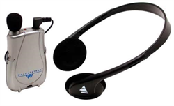 A grey pocket talker with black headset attached.