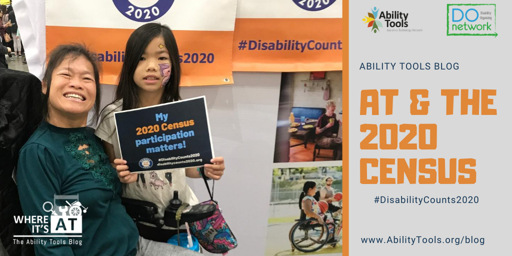 """A woman in a power wheelchair smiling with an adolescent child by her side. The child is holding a sign that reads, """"My 2020 Census participation matters!"""""""