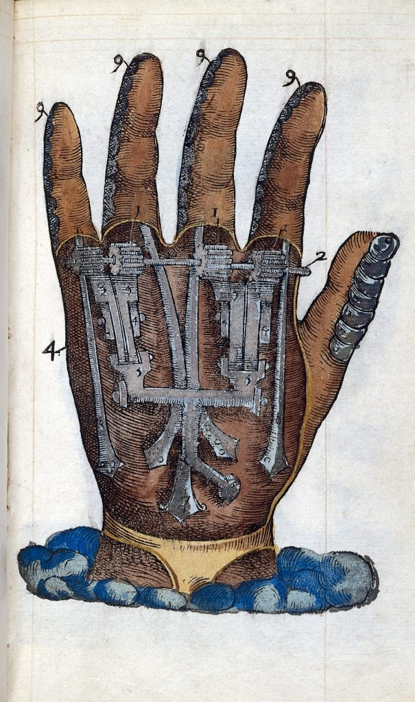 Ambroise Pare's mechanical hand https://commons.wikimedia.org/wiki/File:Ambroise_Pare;_prosthetics,_mechanical_hand_Wellcome_L0023364.jpg This file comes from Wellcome Images, a website operated by Wellcome Trust, a global charitable foundation based in the United Kingdom. Refer to Wellcome blog post / CC BY (https://creativecommons.org/licenses/by/4.0) No alterations made.