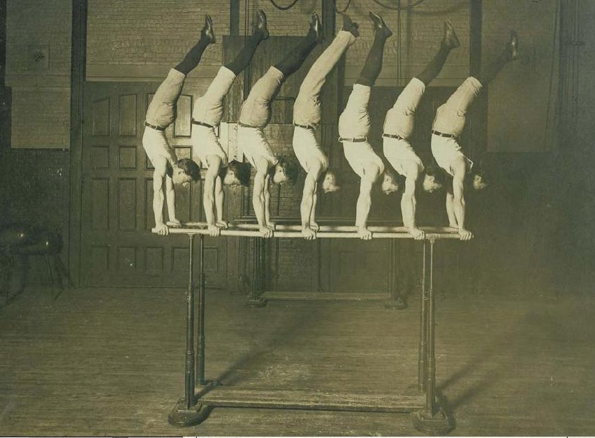 Concordia Turnverein Gymnastic Team, 1908, George Eyser (1871-?) is in the center https://commons.wikimedia.org/wiki/File:GeorgeEyser3.JPG Unknown author / Public domain  No alterations made.