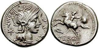 A Roman coin depicts Marcus Sergius on horseback, brandishing a sword in his left hand. Classical Numismatic Group, Inc. http://www.cngcoins.com / CC BY (Creative Commons Attribution-Share Alike 2.5 Generic)- No alterations made.
