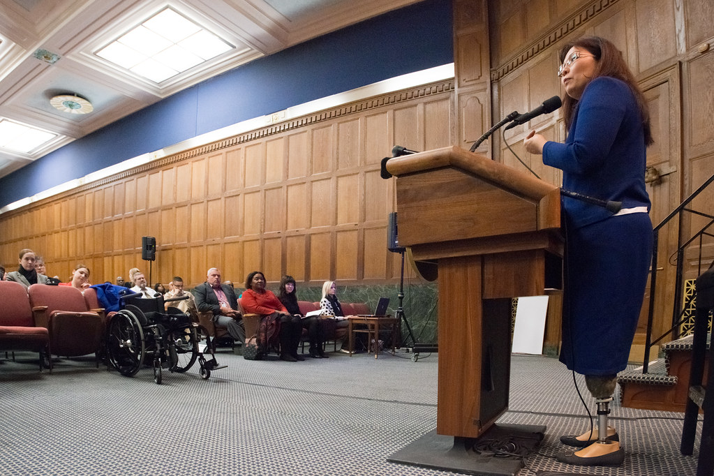 U.S. Congresswoman Tammy Duckworth (D.-Ill.) is the keynote speaker at the 2013 U.S. Department of Agriculture (USDA), Veterans' Day Observance https://www.flickr.com/photos/usdagov/10967788273/ U.S. Department of Agriculture / Public Domain No alterations made.