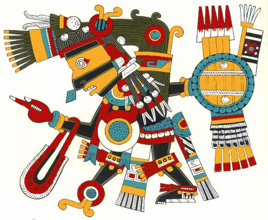 Aztec god of creation, Tezcatlipoca.  https://commons.wikimedia.org/wiki/File:Tezcatlipoca.jpg / Unknown author / CC BY-SA (https://creativecommons.org/licenses/by-sa/3.0)- No alterations made.
