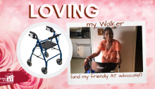 Photo of older woman smiling while standing with her walker. Text: Thankful for my Pocketalker and friendly AT Advocate! with the Where It's AT Blog Logo in the bottom left corner.