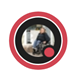 """A Teams profile bubble with a red ring around it with the """"Busy""""  icon in the bottom right corner.  The profile picture contains a smiling woman wearing jeans and a blouse, sitting in a wheelchair in front of an open doorway."""
