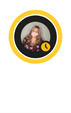 """A Teams profile bubble with a yellow ring around it with the """"Away""""  icon in the bottom right corner.  The profile picture contains a woman with long blond hair wearing a mask."""