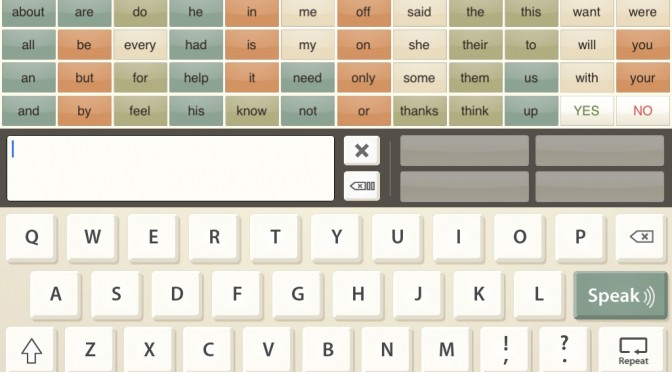 screenshot of app verbally with a keyaboard and grid of simple words