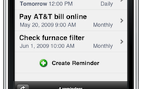 image of a cell phone with the text minder app on it showing reminders for takeing medication, takeing out trash, paying bills and checking furnace filter with dates, etc.