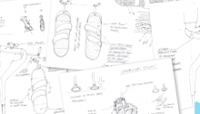 Picture of sketched designs of the innovative crutches