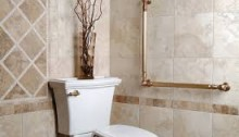 golden grab bars along the left wall of the toilet