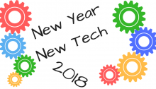 "White background with blacjk letters that read 'new tech new year"". colorful gears border the writing"