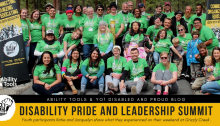 "group of youth wearing green with wording beneth them that reads ""Disability Pride and Leadership Summit"""