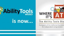"Graphic of old Ability Tools Weekly logo next to new ""Where It's AT: The Ability Tools Blog"" logo"