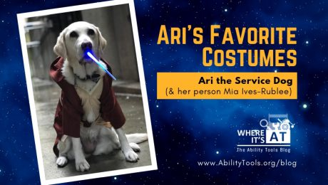 Photo of Ari the Service Dog in a Jedi costume, holding a lightsaber keychain in her mouth. Text reads: Ari's Favorite Costumes