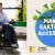 Photo of man in a wheelchair outdoors, departing from train. Image of Earth with icon people with disabilities and trees moving. Text: Making Earth Day Accessible.