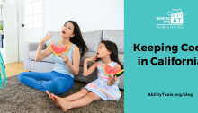 A woman and young girl eating large watermelon wedges in front of a couch with a fan pointing at them. They are fanning themselves with their hands and looking exaggeratingly faint. Under the Where it's AT logo, the text reads Keeping Cool in California - abilitytools.org/blog