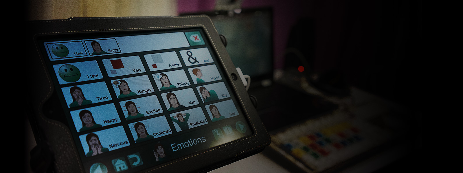 Photo of a tablet with speech software installed.