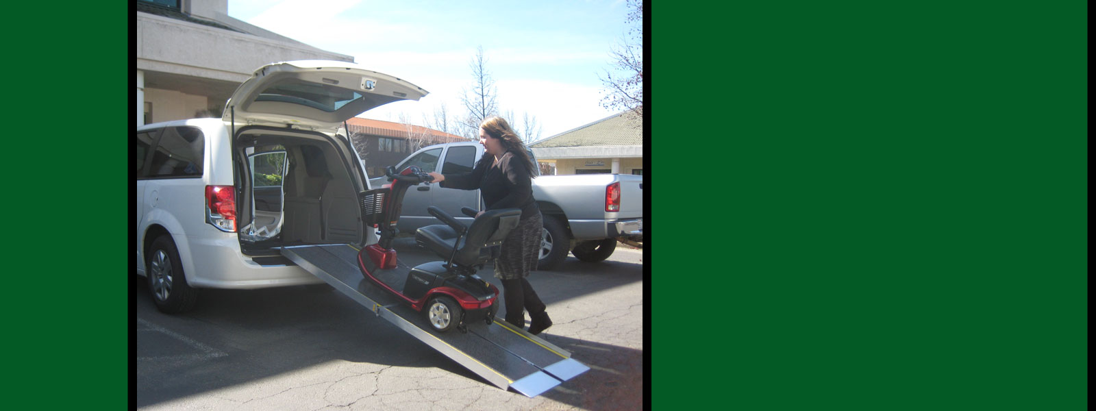 Photo of woman loading up scooter into a van.